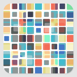 Colorful Tile Pattern Square Sticker