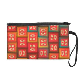 Colorful tiles wristlet purse