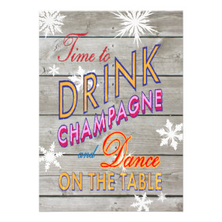 Colorful Time to Drink Champagne on Wood Invite