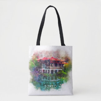 Colorful Tokyo Japan Garden Over Water Tote Bag