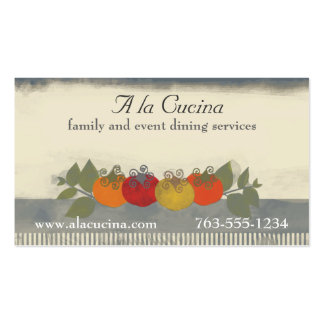 Colorful tomatoes basil chef catering biz cards pack of standard business cards