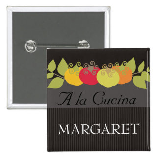 Colorful tomatoes basil chef catering name tags 15 cm square badge