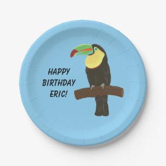 Colorful Toucan Bird Happy Birthday Plates