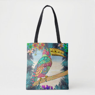 Colorful Toucan bird tropical teal mauve beach Tote Bag