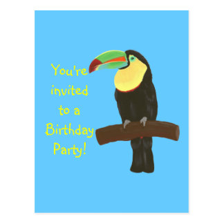 Colorful Toucan Birthday Invitations on postcards