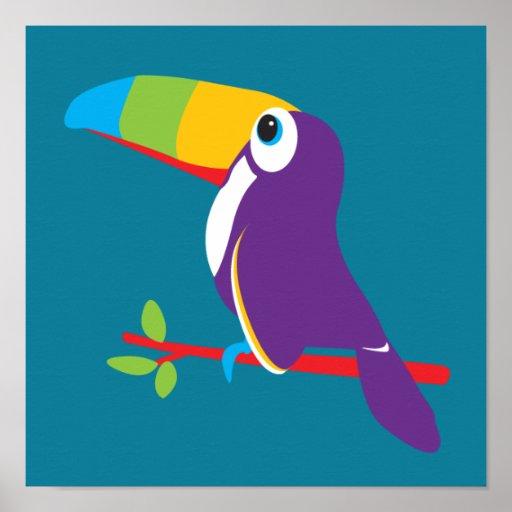 Colorful toucan graphic kids nursery art print