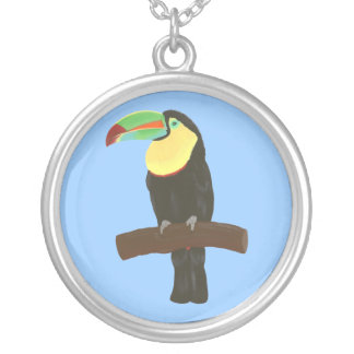 Colorful Toucan Painting by CherylsArt, Necklace