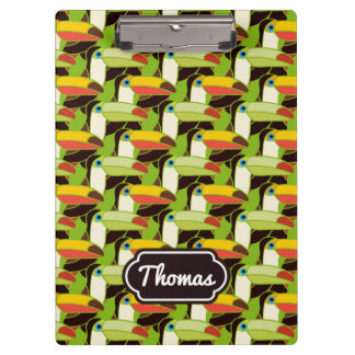 Colorful Toucans | Add Your Name Clipboards