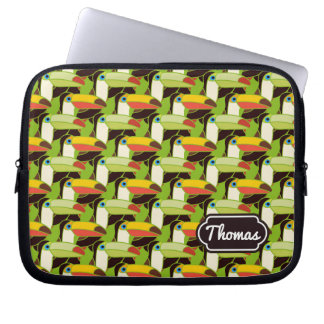 Colorful Toucans | Add Your Name Computer Sleeves