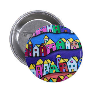 COLORFUL TOWN by Prisarts 6 Cm Round Badge