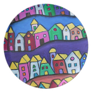 COLORFUL TOWN by Prisarts Dinner Plates