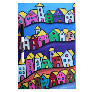 COLORFUL TOWN by Prisarts Dry Erase Board