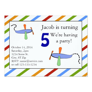 Colorful Toy Airplane for Little Boys 14 Cm X 19 Cm Invitation Card