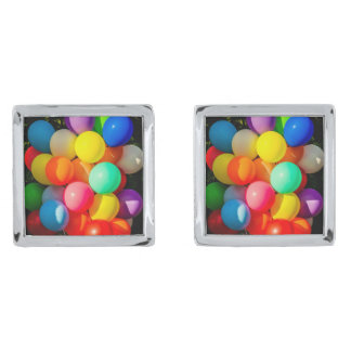 Colorful Toy Balloons Silver Finish Cuff Links