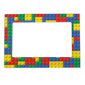 Colorful Toy Building Blocks Background Pattern Magnetic Picture Frame