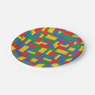 Colorful Toy Building Blocks Background Pattern Paper Plate