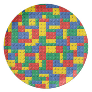 Colorful Toy Building Blocks Background Pattern Plate