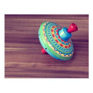 Colorful toy top postcard