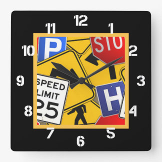 Colorful Traffic Signs Square Wall Clock