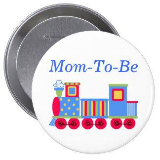 Colorful Train Baby Shower Mommy Pin Button