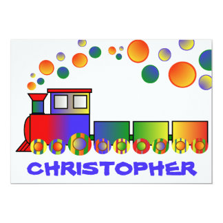 Colorful Train Personalized Birthday Party 13 Cm X 18 Cm Invitation Card