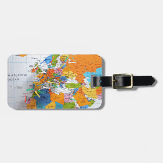Colorful Travel Map Luggage Tag