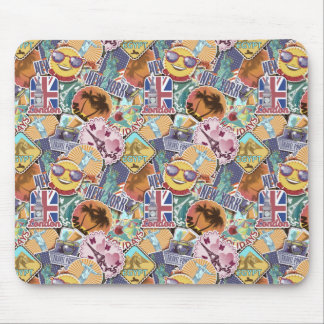Colorful Travel Sticker Pattern Mouse Pad