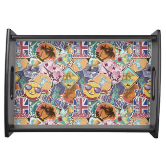 Colorful Travel Sticker Pattern Serving Tray