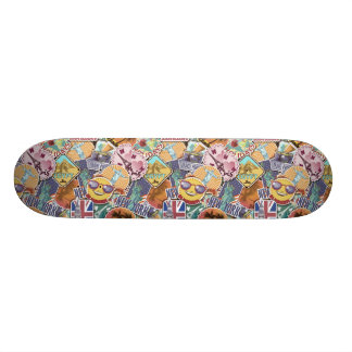Colorful Travel Sticker Pattern Skateboard