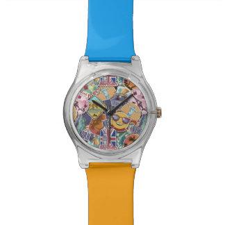 Colorful Travel Sticker Pattern Watch