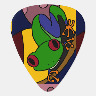 Colorful Tree Frog Art Abstract Guitar Pick