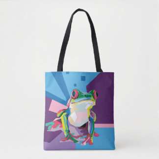 Colorful Tree Frog Portrait Tote Bag