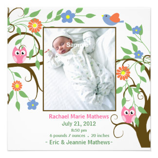 Colorful Tree with Owls Baby Announcement