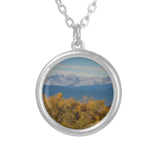 Colorful Trees and Majestic Mountain Peaks Silver Plated Necklace