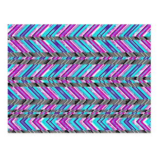 Colorful Trendy Chevron Zig Zag Geometric Pattern Post Card