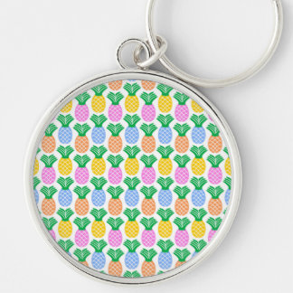 Colorful Trendy Pineapple Pattern Silver-Colored Round Key Ring