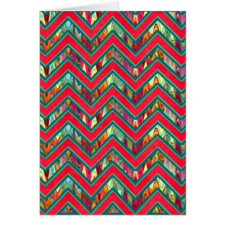 Colorful Trendy Psychedelic Zig Zag Card