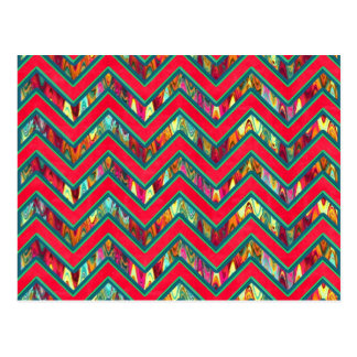 Colorful Trendy Psychedelic Zig Zag Postcard