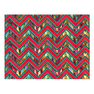 Colorful Trendy Psychedelic Zig Zag Postcard