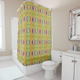 Colorful Trendy Tribal Aztec Geo Pattern Shower Curtain