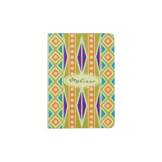 Colorful Trendy Tribal Aztec Geometric Pattern Passport Holder