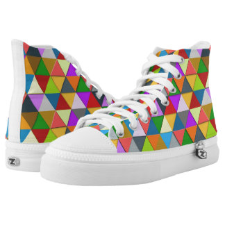 Colorful triangle galore geometric pattern high tops