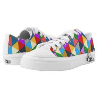 Colorful triangle galore geometric pattern low tops
