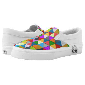 Colorful triangle galore geometric pattern slip on shoes