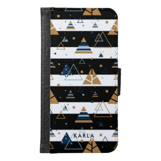Colorful Triangles-Black & White Stripes Pattern 2 Samsung Galaxy S6 Wallet Case