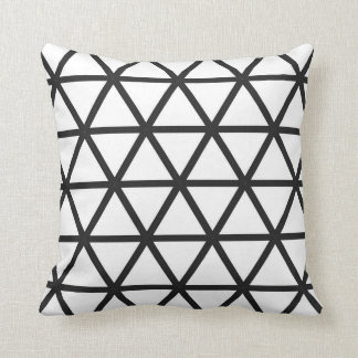 Colorful Triangles in White with Black Cushion