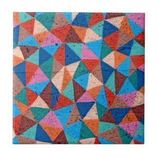 Colorful Triangles Urban Graffiti Style Small Square Tile
