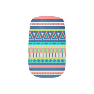 Colorful tribal abstract pattern minx nail art
