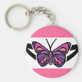 Colorful tribal butterfly key chain