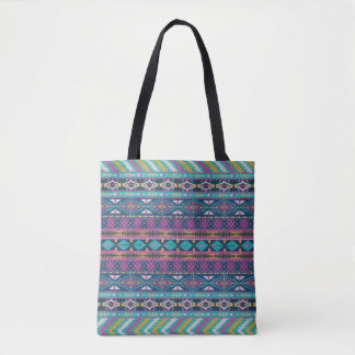 Colorful Tribal Geometric Pattern Tote Bag